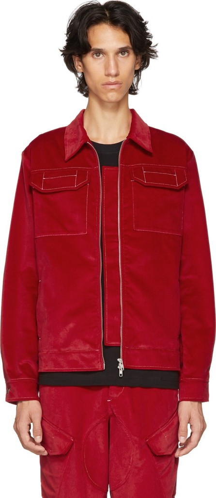 Affix Red Velvet Zip Service Jacket