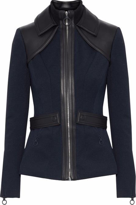 Versace Leather-paneled twill jacket