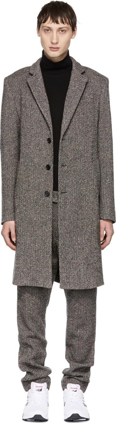 Aimé Leon Dore Grey Wool Tweed Donegal Coat