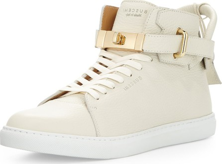 Buscemi Men's Leather High-Top Sneakers w/ 18k Gold-Plated Hardware, Off White