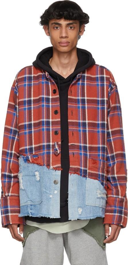 Greg Lauren Red & Blue 50/50 Plaid/Denim Shirt