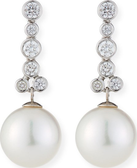 Belpearl 18k White Gold Linear Diamond & Pearl Earrings, White