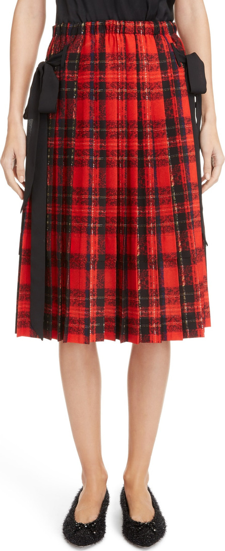 Simone Rocha Bow Pleated Tartan Skirt