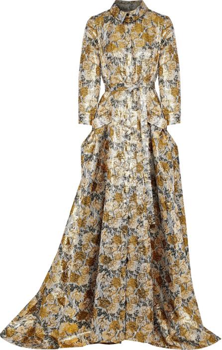 Carolina Herrera Belted brocade gown