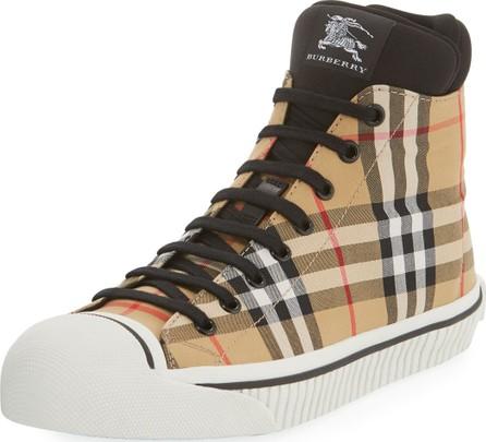 Burberry London England Men's Kilbourne Signature Check High-Top Sneakers