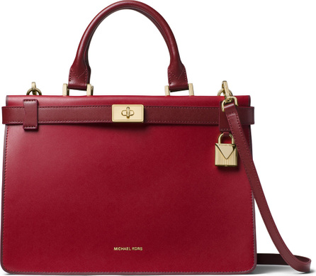 MICHAEL MICHAEL KORS Tatiana Medium Leather Satchel Bag - Golden Hardware