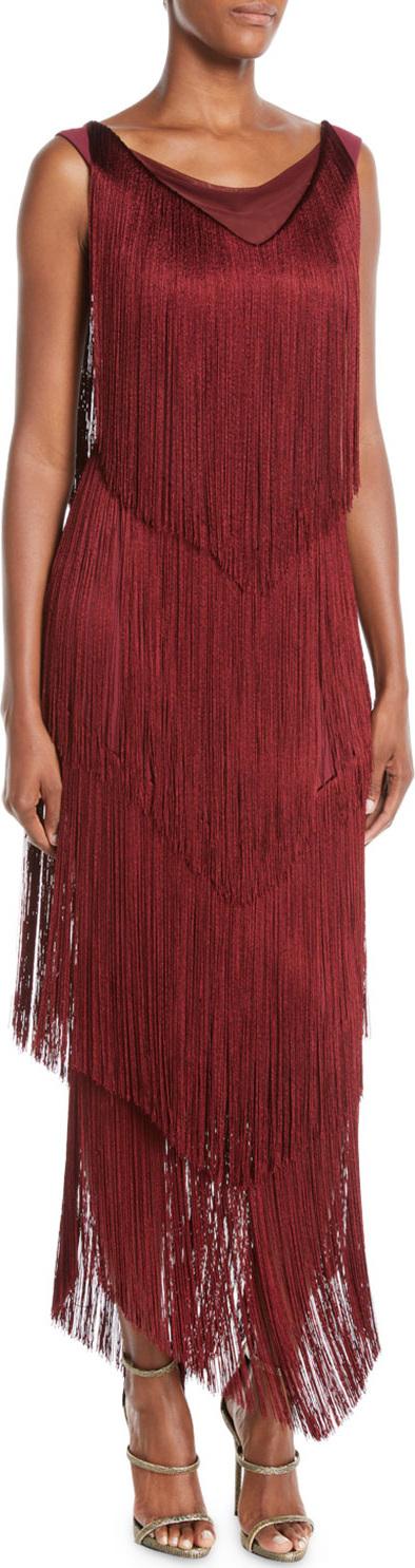 La Petite Robe di Chiara Boni Casilda Tiered-Fringe Column Dress