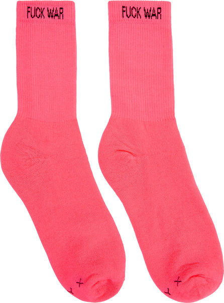 Alyx Two-Pack Pink & Yellow 'Fuck War' Neon Socks