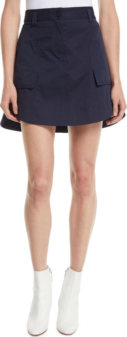 Carven A-Line Cotton Mini Skirt