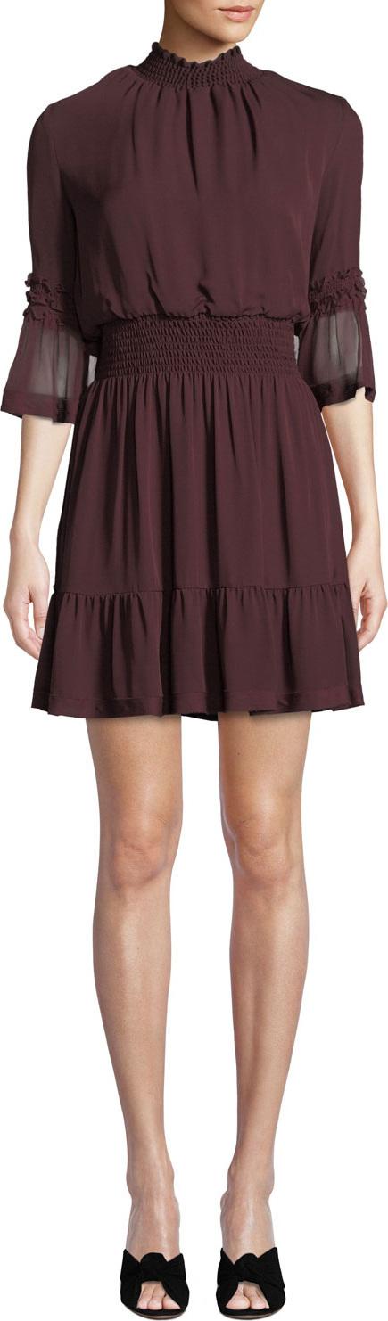 KOBI HALPERIN Lacie Smoked-Waist Chiffon Dress