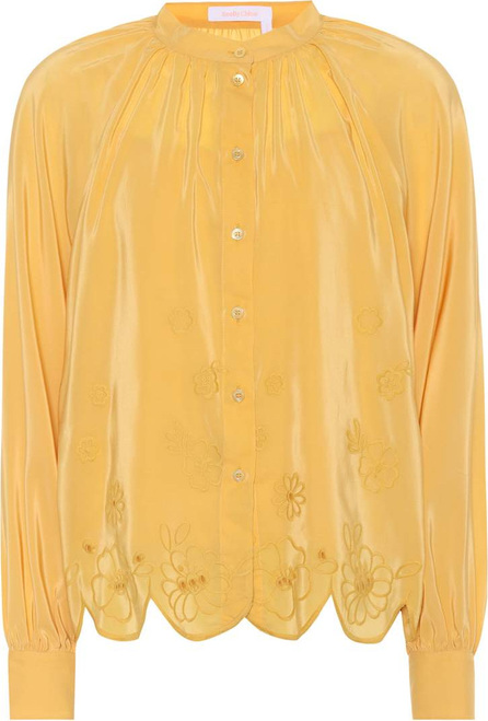 See By Chloé Embroidered silk-blend blouse