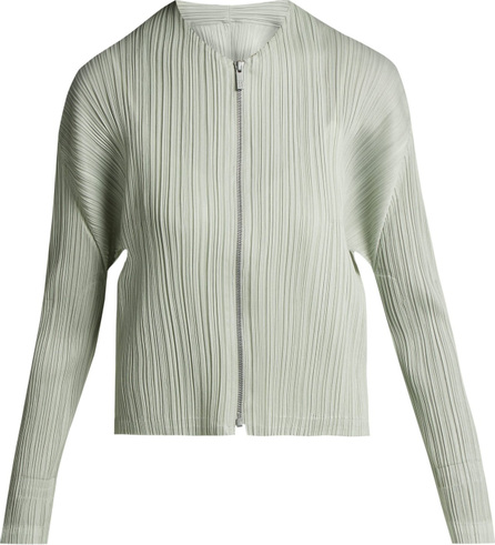 Pleats Please By Issey Miyake Collarless pleated jacket
