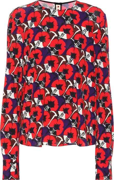 Marni Floral-printed crêpe blouse