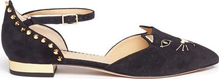 Charlotte Olympia 'Mid-Century Kitty' stud suede d'Orsay flats