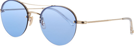 GARRETT LEIGHT Beaumont Round Steel Sunglasses