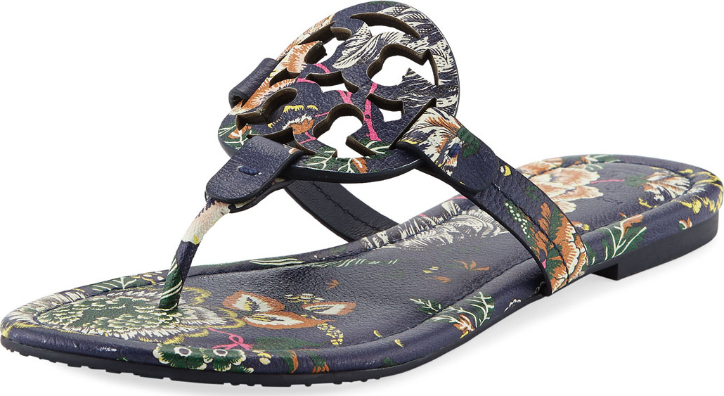 d681d769afa9 Tory Burch Miller Medallion Floral-Print Leather Flat Thong Sandals ...