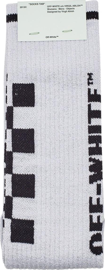 Off White Metallic Taxi Long Socks