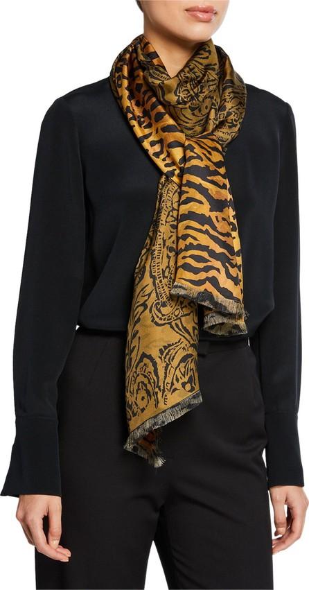 Etro Double Faced Paisley & Tiger Silk Scarf