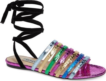 Attico Chiara Rainbow Ankle Wrap Sandal
