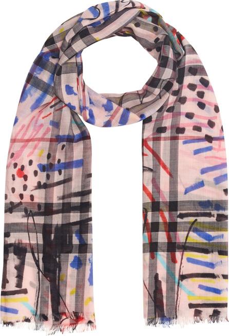 Burberry London England Graffiti Check Print Wool & Silk Scarf