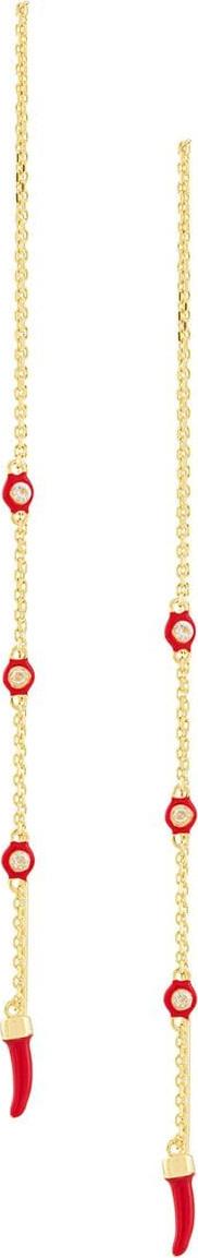 Eshvi Drop coral chain long earrings