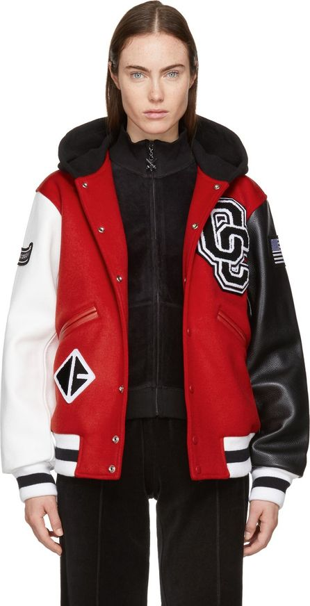 Opening Ceremony Red Hooded Varsity Bomber Jacket