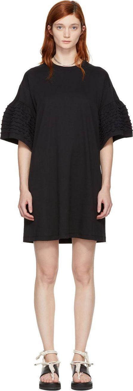 See By Chloé Black Ruffle Sleeves T-Shirt Dress