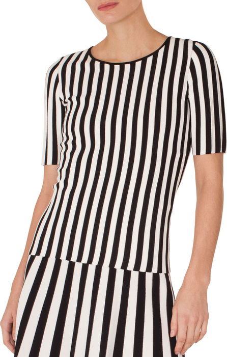 Akris Punto Round-Neck Short-Sleeve Striped Knit Top
