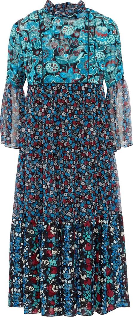Anna Sui Gathered printed jacquard and georgette midi dress