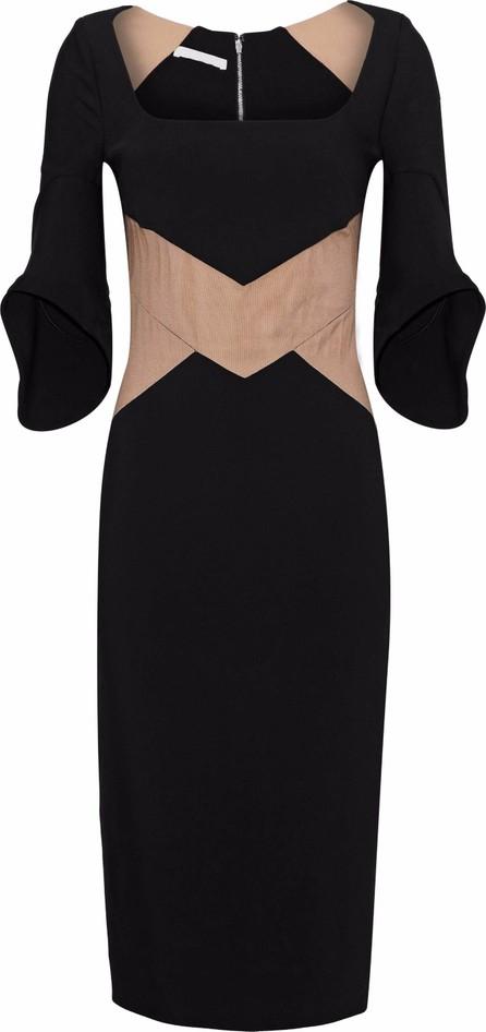 Antonio Berardi Tulle-paneled two-tone crepe dress