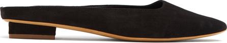 Mansur Gavriel Rectangular-toe suede backless loafers
