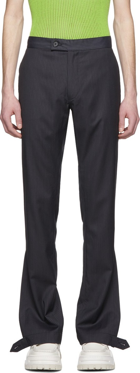 Daniel W. Fletcher Navy Striped Split Hem Trousers