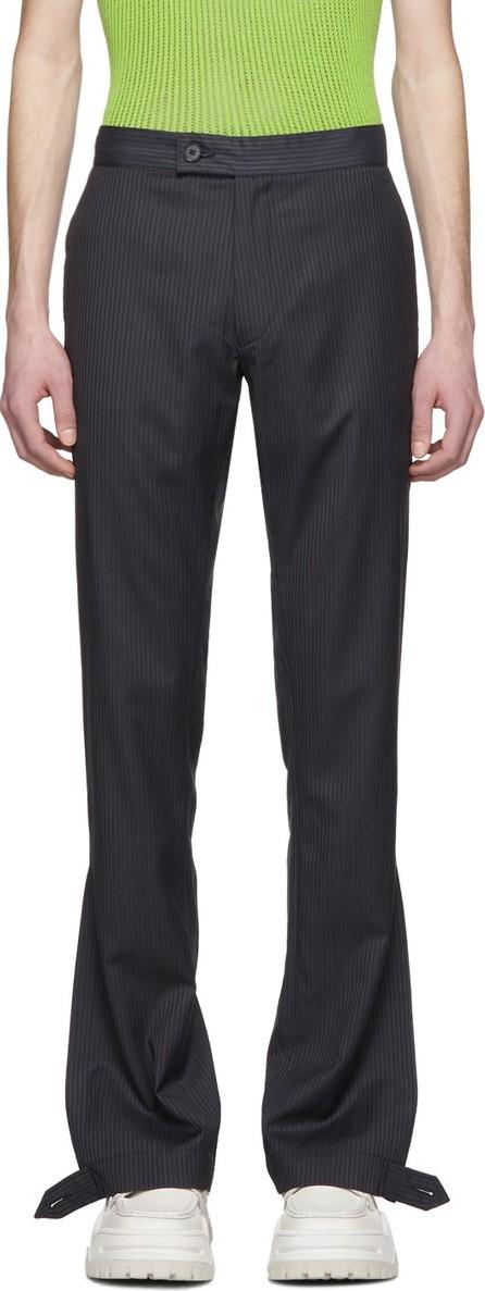 Daniel W. Fletcher Navy Striped Split Hem Trousers