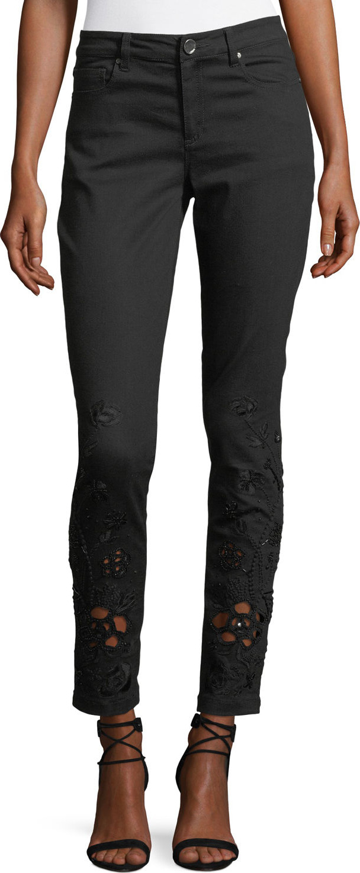 Elie Tahari - Azella Embroidered Skinny Jeans