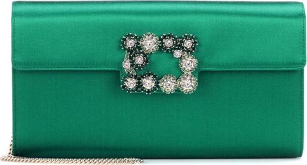 Roger Vivier Evening Evelope Flowers satin clutch