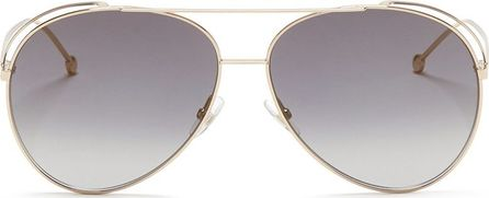 Fendi Cutout spoiler metal double bridge aviator sunglasses
