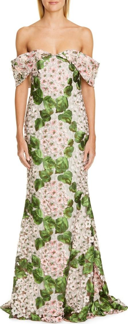 Badgley Mischka Badgley Mischka Couture Off the Shoulder Floral Embellished Gown