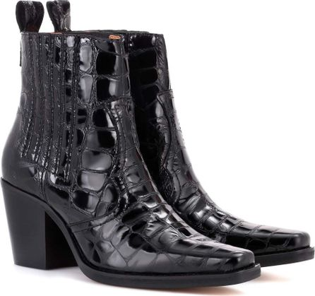 Ganni Callie embossed-leather ankle boots