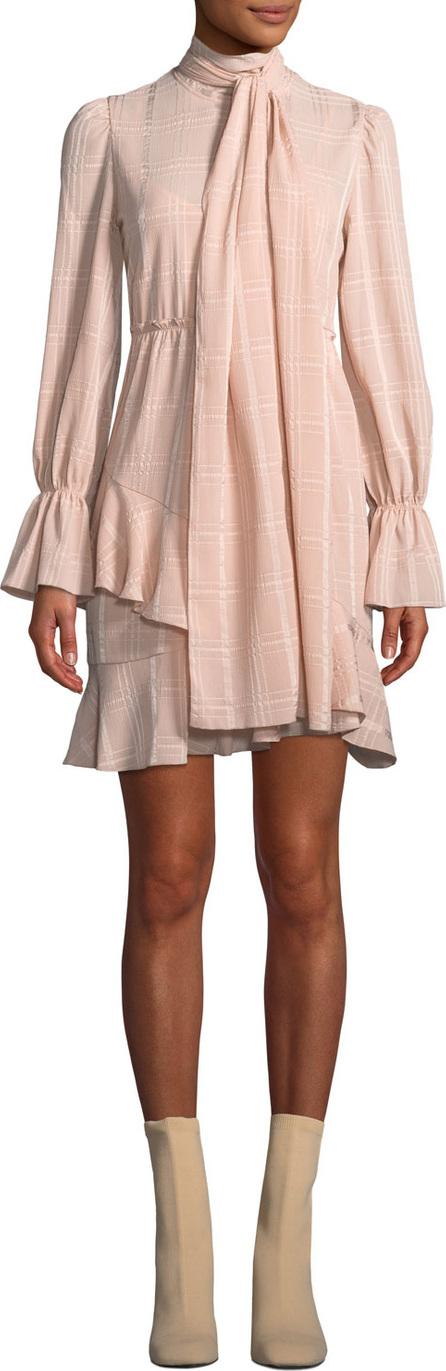 See By Chloé Tonal-Check Tie-Neck Flounce Short Dress