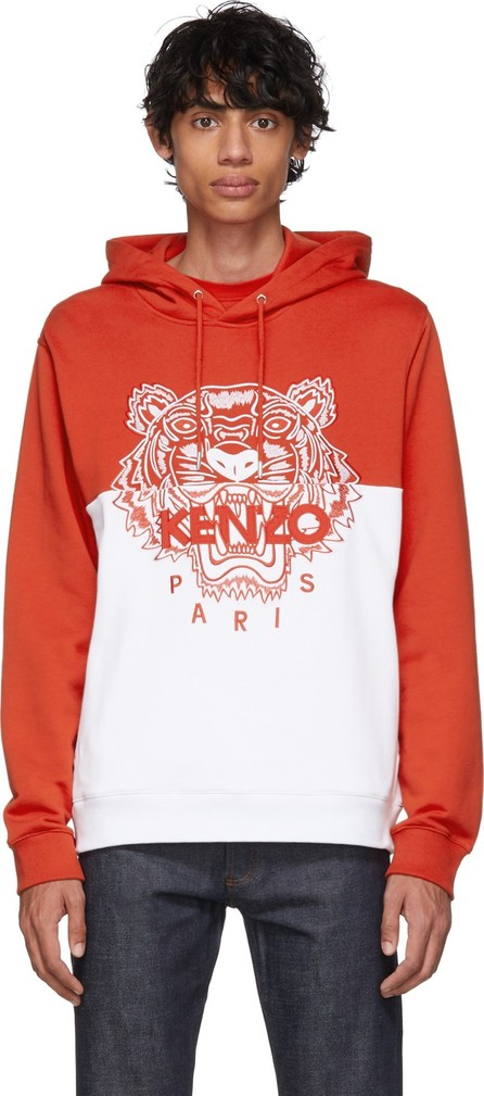 KENZO Red & White Limited Edition Colorblock Tiger Hoodie