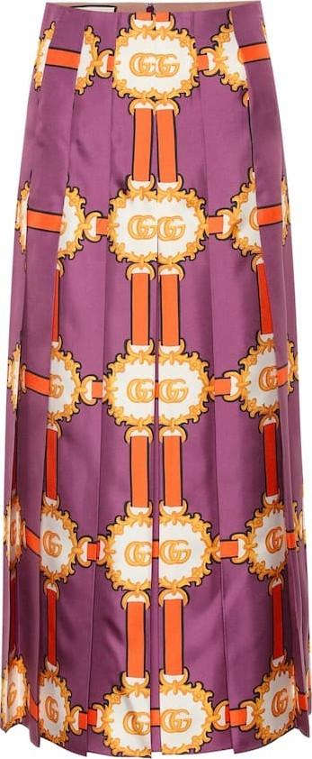Gucci Printed silk-satin midi skirt