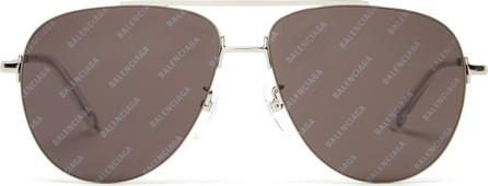 Balenciaga Logomania aviator-frame metal sunglasses