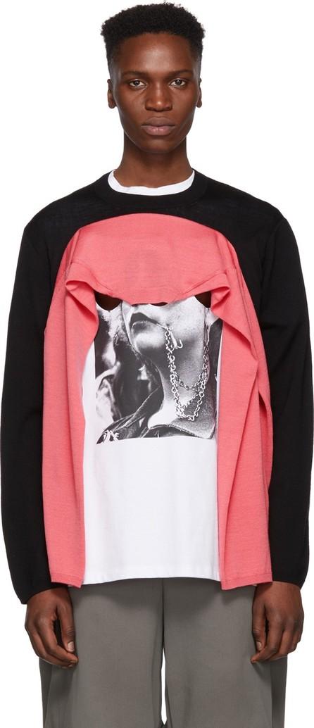 Comme Des Garçons Homme Plus Black & Pink Wool Double Sleeve Sweater
