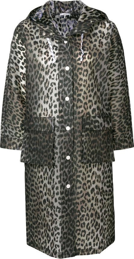 Ganni Leopard print rain coat