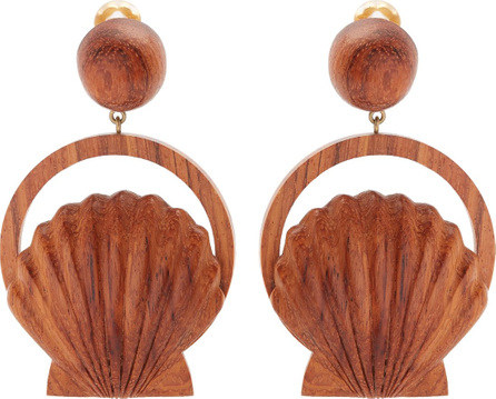 Rebecca de Ravenel Venus wood clip-on earrings