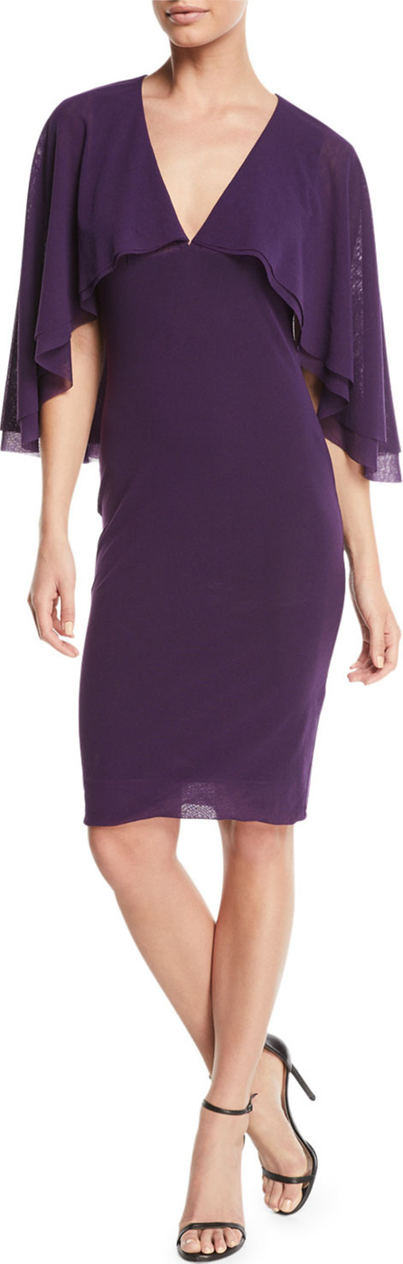 Fuzzi V-Neck Tulle Body-Con Capelet Dress