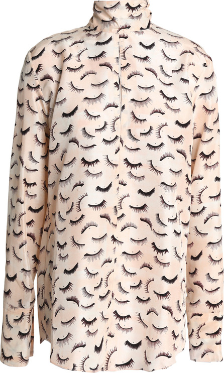 Nina Ricci Cutout printed silk crepe de chine turtleneck blouse