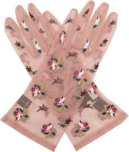 Gucci Floral-embroidered tulle gloves