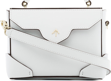 Manu Atelier White Micro Bold leather cross-body bag