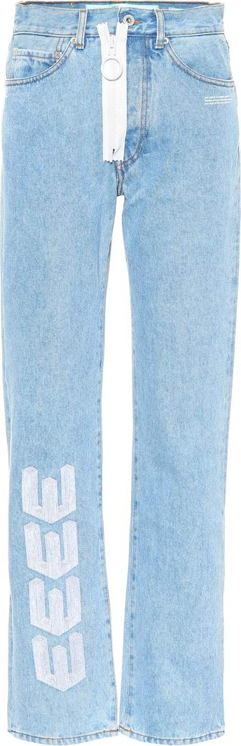 Off White Embroidered straight-leg jeans